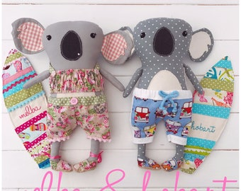 Cloth Dolls Surfing Koalas 'Melba and Hobart' with Clothes and Surf Shack Carry Case PDF Sewing Pattern