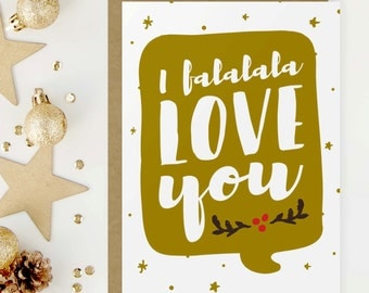 I Love You Christmas Greeting Card, Boyfriend Gift, I Falalala Love You, Long Distance Relationship, Long Distance Boyfriend Gift