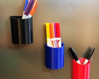 Magnetic Pen Pencil Marker Holder for Fridge Locker and Other Magnetic Surfaces - Multiple Colors