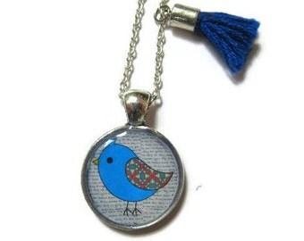BIRD NECKLACE - Flower Girl Gift - Tassel Necklace - Children Necklace - Bridesmaid necklace - Flower girl Necklace - Blue Bird