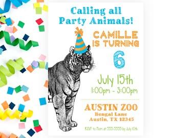 einladung zur geburtstagsfeier zoo mit zebradrucken zu, Einladung