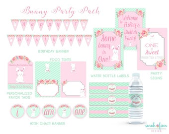 Bunny Birthday Printable Party Pack, Some Bunny is Turning One, First Birthday, Bunny Party, Bundle, Party Kit, Banner, Signs, Favor Tags