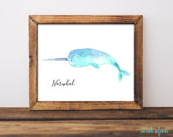 Narwhal Print, Narwhal Art, Narwhal Gift, Nursery Decor, Whale, Children's Room Kid Room Art, Ocean, Narwhale, Nautical, Instant Download