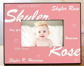 New Baby Girl Printed Frame - Baby Frames - New Baby Pink Frame - Baby Girl Announcement Frame - New Baby Gift - New Mommy Gifts - Baby Girl