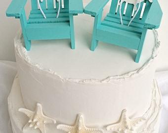Nautical Wedding Cake Topper,Beach Wedding Cake Topper,Mini Adirondack Chair Set,Ship's Wheel,Adirondack Cake Topper,Beach Bridal Shower