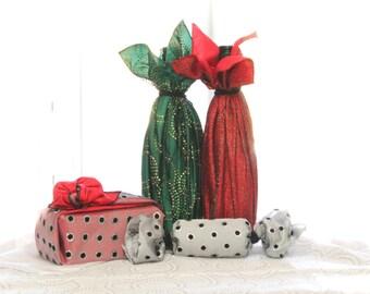 Double Layer Reusable Fabric Gift Wrap Set