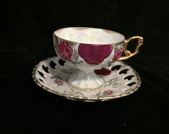 Vintage Multi-Rose Teacup & Plate
