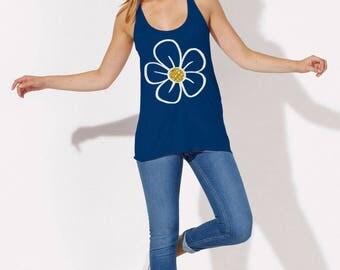 Daisy Shirt Daisy Tank Top Womens Daisy Tank Daisy Flower Tanks Glitter Flower Top Flower Shirt Flower Tshirt Daisy Clothing for Women