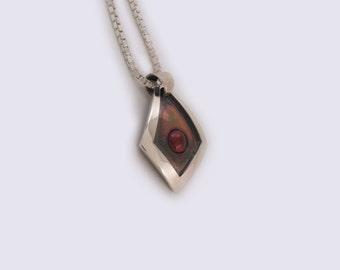 Oxidized Silver Necklace with Garnet
