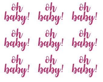 30 OH BABY Stickers, Gender Reveal Decal, Baby Shower Stickers, Envelope Seals, Oh Baby Labels, Baby Announcement, Party Invitation Seals,