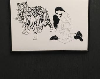 Wild Animals Cats / Tigers and Kissing Girls / Queer Femme Couple Lovers / Erotic Punk Art Print / Art for Sale