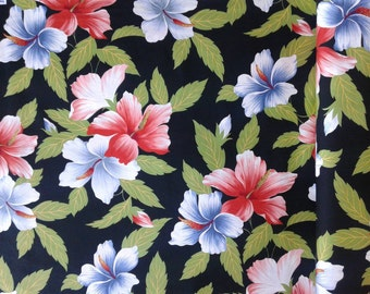 Black Hawaiian Fabric Multi-color Floral, Hawaiian Print, red, large Tropical Flowers, Island, Hula or Aloha Shirt Material, 100% cotton
