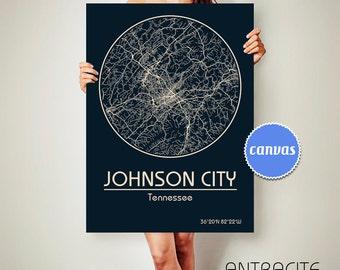 JOHNSON CITY Tennessee CANVAS Map Johnson City Tennessee Poster City Map Johnson City Tennessee Art Print Johnson City Tennessee