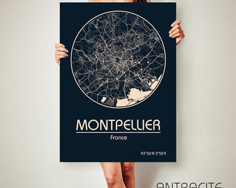 MONTPELLIER CANVAS Map Montpellier Poster City Map Montpellier Art Print Montpellier  poster Montpellier map art Poster Montpellier map