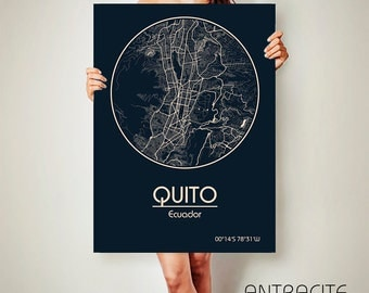 QUITO Ecuador CANVAS Map Quito Ecuador Poster City Map Quito Ecuador Art Print Quito Ecuador