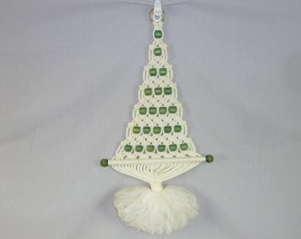 70s Macrame Christmas Tree - White w/ Green Wooden Beads - Vintage 1970's Wall Hanging - Christmas Decor - 28""