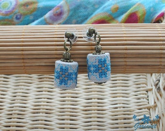 Gift for women gifts for her aqua blue stud earrings embroidered jewelry fabric earrings ethnic jewelry boho chic earrings gift for sister