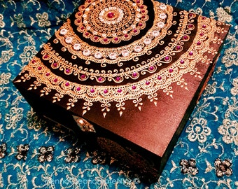 New ! Midnight Black Mandala Keepsake Jewelry Box with Gem Stones with Personalized Brass Plate.