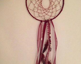 Handmade burgundy dreamcatcher