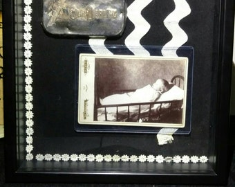 Post Mortem Child Photography Display with Casket Plate