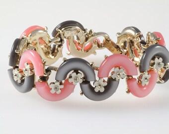 BSK signed jewelry bracelet, 1960s enamel flower thermoset bracelet, vintage pink grey retro lucite signed bracelet