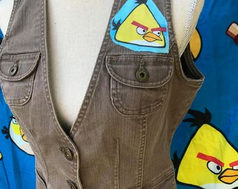 Angry Birds Top Vest Angry Birds Denim Geek Chic Cartoon Movie Gamer Upcycled Clothing Size Medium