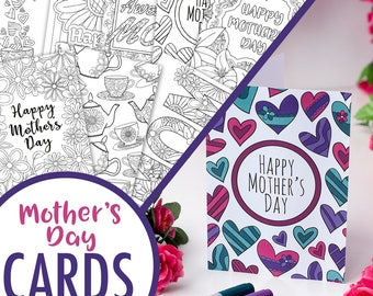 Mother's Day Printable Coloring Cards (8 Pack) | 8 Printable PDF Mother's Day card templates to color in and make | Mother's Day gift idea