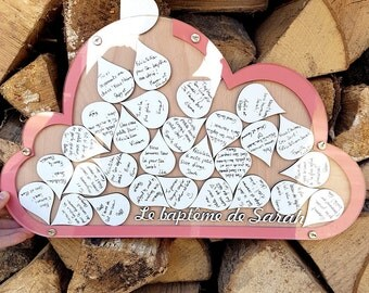 Guestbook cloud wishes baptism vows cloud christening guest book wooden cloud filled with wishes for the baby christening book
