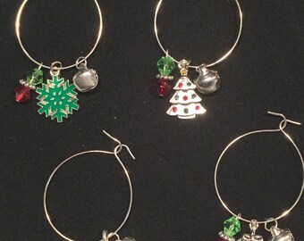 Christmas Wine Glass Charms (#7821) - Set of 4