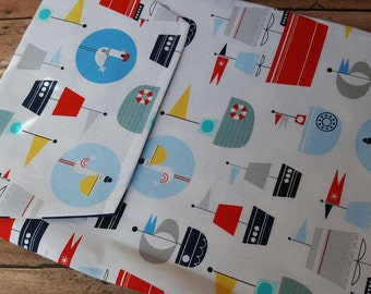 Diaper and Wipes Clutch / Pouch Sailboats and Seagulls