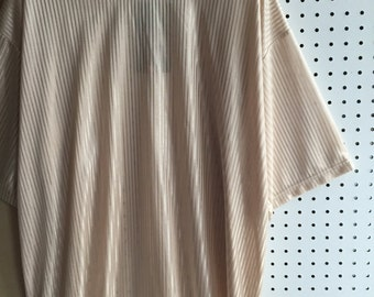 Deadstock with tag Lightweight Beige Silky Shiny Stripes 90s Club Kids Short Sleeves Tee