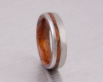 wood wedding band mens wedding ring woman band DESERT IRON WOOD ring man jewelry titanium ring wood ring