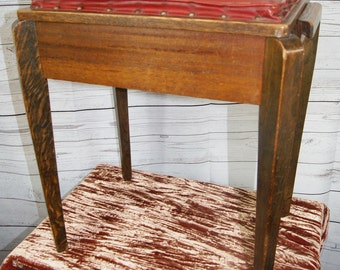 Antique Arts and Crafts, Oak, Wooden Piano, Music or Dressing Table Stool with Hinged Leather Seat and Storage