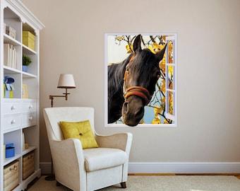 Horse in window Sticker. Peel & Stick Removable Decole, Mural, Skin, Decal.