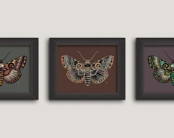 """Print """"Nocturna"""", moth, DIN A4, poster, set of 3"""