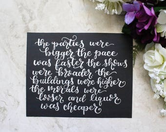 THE GREAT GATSBY Calligraphy Print | Literary Quotes | Home Decor | Book Quotes