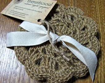 Rustic, Shabby Chic Natural Hemp Twine Coasters, crocheted, set of four