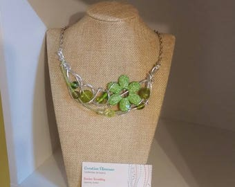 Lime flower necklace, silver wire