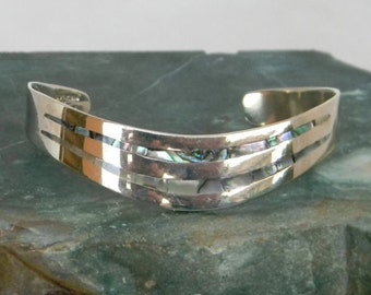 Mexico Alpaca Silver Vintage Curved Cuff Bracelet Abalone Shell Inlays