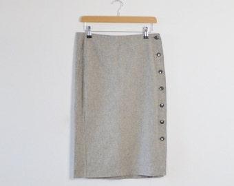 Grey Pin-Striped Pencil Skirt  |  Vintage Pencil Skirt