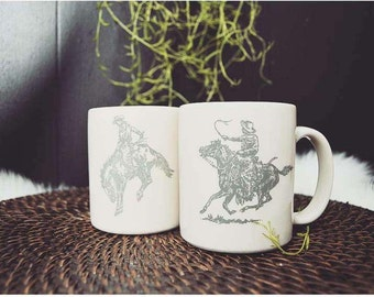 Cowboy Rodeo Mugs, Set of 2