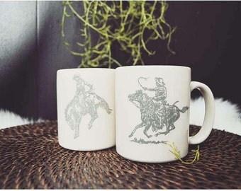 Cowboy Rodeo Mugs, Set of 2