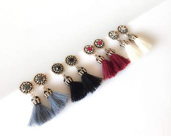 ANNATA Tassel Earrings in Gray, Black, Mulberry and Beige