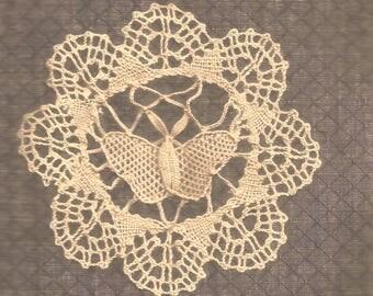 BUTTERFLY 4 inch  Ecru CLUNY LACE DOlLY Butterfly Pattern  (light beige / oatmeal color)