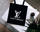 Lord Voldemort TOTE BAG | hand painted | grocery bag, reusable bag, shoulder bag, louis vuitton parody, harry potter tote bag, cursed child