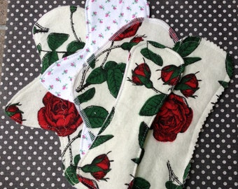 Choose Your Combo, Reusable Panty Liners, Roses, 4 Styles, 100% Cotton Flannel, Winged or Wingless