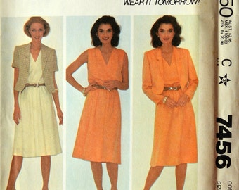Uncut 1980s McCall's Vintage Sewing Pattern 7456, Size 14-16-18;Misses' Jacket and Dress