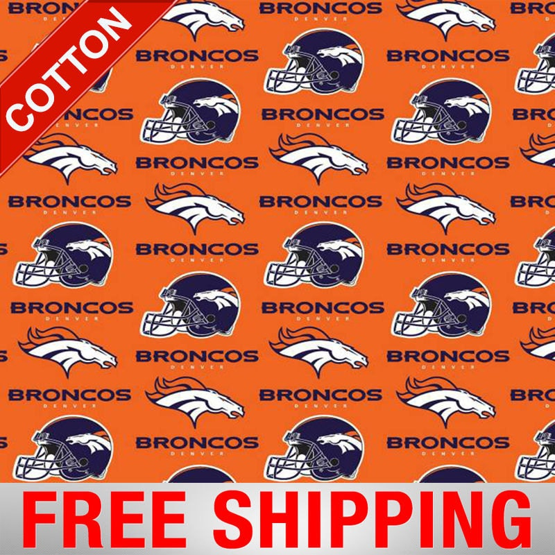 """Denver Broncos Cotton Fabric NFL 60"""" Wide. Style DEN-6718"""