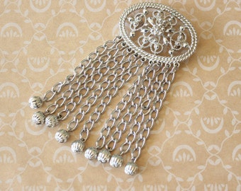 Vintage Sarah Coventry Filigree and Fringe Brooch Pin Silver Tone