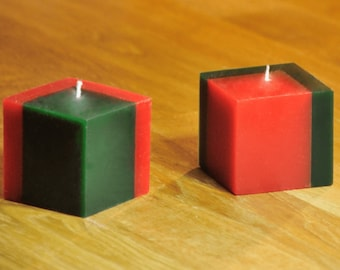 2 cubic candles, red and green, candle for party,  decor candle, candle for halloween, candle for celebration, geometric candle